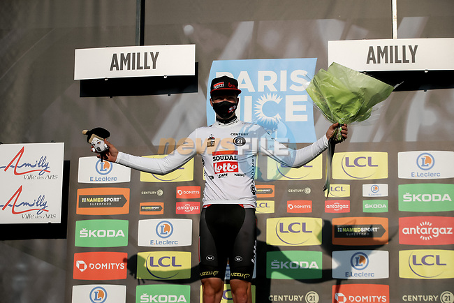 Florian Vermeersch (BEL) Lotto Soudal takes over the young riders White Jersey at the end of Stage 2 of Paris-Nice 2021, running 188km from Oinville-sur-Montcient to Amilly, France. 8th March 2021.<br /> Picture: ASO/Fabien Boukla | Cyclefile<br /> <br /> All photos usage must carry mandatory copyright credit (© Cyclefile | ASO/Fabien Boukla)