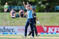 23rd February 2021, Christchurch, New Zealand;  Freya Davies of England celebrates her wicket of Amelia Kerr of New Zealand during the 1st ODI Cricket match, New Zealand versus England, Hagley Oval, Christchurch, New Zealand