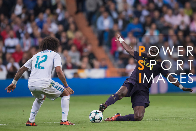 Moussa Sissoko of Tottenham Hotspur FC (R) fights for the ball with Marcelo Vieira Da Silva of Real Madrid (L) during the UEFA Champions League 2017-18 match between Real Madrid and Tottenham Hotspur FC at Estadio Santiago Bernabeu on 17 October 2017 in Madrid, Spain. Photo by Diego Gonzalez / Power Sport Images