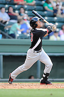 Infielder Luis Marte (3) of the Hickory Crawdads bats in a game against the Greenville Drive on Friday, June 7, 2013, at Fluor Field at the West End in Greenville, South Carolina. Greenville won the resumption of this May 22 suspended game, 17-8. (Tom Priddy/Four Seam Images)