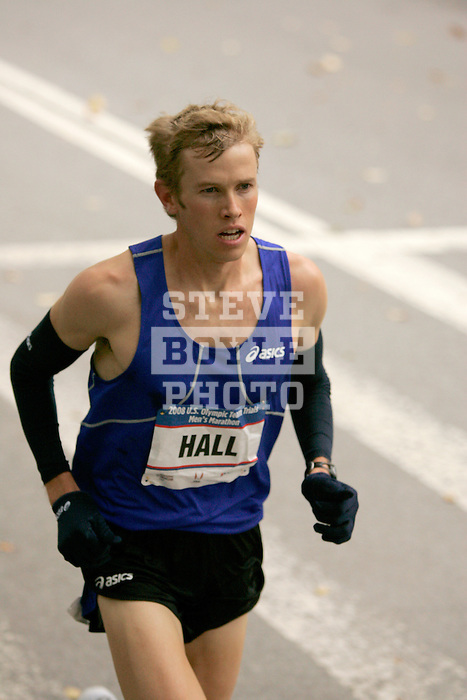 Ryan Hall runs through Central Park while competing in the 2008 Men's Olympic Trials Marathon on November 3, 2007 in New York, New York.  The race began at 50th Street and Fifth Avenue and finished in Central Park.  Hall won the race with a time of 2:09:02.
