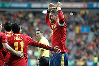 Spain's Sergio Ramos celebrates goal during international match of the qualifiers for the FIFA World Cup Brazil 2014.March 22,2013.(ALTERPHOTOS/Acero)