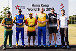 From left to right: Aubrey Swanepoel of South Africa Team, Captain Farveez Maharoof of Sri Lanka Team, Captain Samit Patel of Marylebone Cricket Club, Captain John Hastings of Australia Team, Captain Peter Fulton of New Zealand Kiwis, and Captain Babar Hayat of Hong Kong Team pose for photo during the Hong Kong Cricket World Sixes 2017 Press Conference at Hong Kong Cricket Club on 27 October 2017, in Hong Kong, China. Photo by Yu Chun Christopher Wong / Power Sport Images