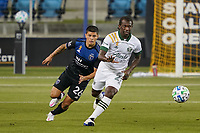 SAN JOSE, CA - SEPTEMBER 19: Diego Chara #21 of the Portland Timbers is chased by Eric Calvillo #26 of the San Jose Earthquakes during a game between Portland Timbers and San Jose Earthquakes at Earthquakes Stadium on September 19, 2020 in San Jose, California.