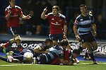 Flanker Paddy Butler dives over in the corner to score a late try and win the match for Munster.<br /> Guiness Pro12<br /> Cardiff Blues v Munster<br /> Cardiff Arms Park<br /> 01.11.14<br /> ©Steve Pope-SPORTINGWALES
