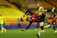 17th April 2021; Carrow Road, Norwich, Norfolk, England, English Football League Championship Football, Norwich versus Bournemouth; Adam Smith of Bournemouth competes for the ball with Teemu Pukki of Norwich City
