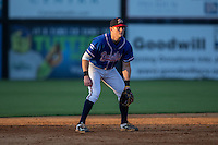 Danville Braves third baseman Matt Gonzalez (1) on defense against the Kingsport Mets at American Legion Post 325 Field on July 9, 2016 in Danville, Virginia.  The Mets defeated the Braves 10-8.  (Brian Westerholt/Four Seam Images)