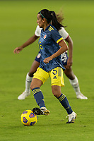 ORLANDO, FL - JANUARY 22: Ana Huertas #5 looks for options during a game between Colombia and USWNT at Exploria stadium on January 22, 2021 in Orlando, Florida.