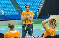 Moskou, Russia, Februari 3, 2016, Fed Cup Russia-Netherlands,  Practise Dutch team,    captain Paul Haarhuis<br /> Photo: Tennisimages/Henk Koster