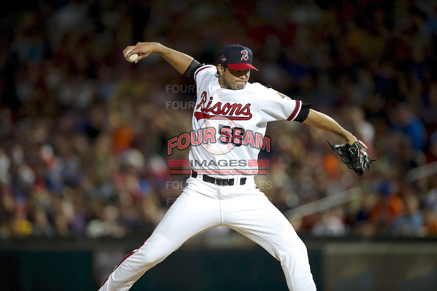 Buffalo Bisons pitcher Fernando Cabrera #58 during the Triple-A All-Star game featuring the Pacific Coast League and International League top players at Coca-Cola Field on July 11, 2012 in Buffalo, New York.  PCL defeated the IL 3-0.  (Mike Janes/Four Seam Images)