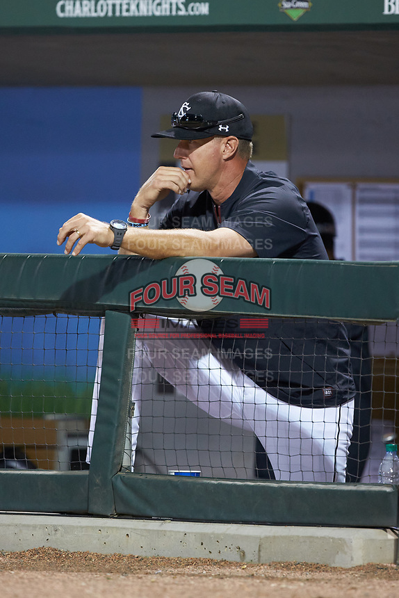 South Carolina Gamecocks head coach Mark Kingston looks on from the dugout against the North Carolina Tar Heels at BB&T BallPark on April 3, 2018 in Charlotte, North Carolina. The Tar Heels defeated the Gamecocks 11-3. (Brian Westerholt/Four Seam Images)