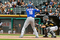 Travis Taijeron (18) of the Las Vegas 51s at bat against the Salt Lake Bees in Pacific Coast League action at Smith's Ballpark on September 4, 2016 in Salt Lake City, Utah. The Bees defeated the 51s 4-3. (Stephen Smith/Four Seam Images)