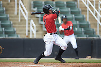 Ian Dawkins (8) of the Kannapolis Intimidators follows through on his swing against the Lexington Legends at Kannapolis Intimidators Stadium on May 15, 2019 in Kannapolis, North Carolina. The Legends defeated the Intimidators 4-2. (Brian Westerholt/Four Seam Images)