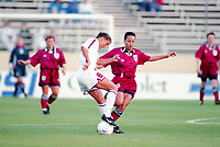 SAN JOSE, CA - MAY 09: Brandi Chastain # 6 during a game between England and USWNT at Spartan Stadium on May 09, 1997 in San Jose, California.