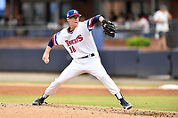 Asheville Tourists starting pitcher Garrett Schilling (18) delivers a pitch during a game against the Augusta GreenJackets on Crash Davis Night at McCormick Field on June 16, 2018 in Asheville, North Carolina. The GreenJackets defeated the Tourists 7-6. (Tony Farlow/Four Seam Images)