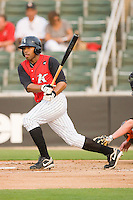Kyle Colligan #23 of the Kannapolis Intimidators follows through on his swing against the Delmarva Shorebirds at Fieldcrest Cannon Stadium May 14, 2010, in Kannapolis, North Carolina.  Photo by Brian Westerholt / Four Seam Images