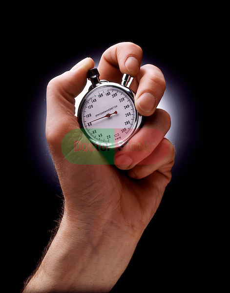 metaphorical illustration of hand holding an aneroid sphygmomanometer blood pressure gauge in the shape of a stopwatch