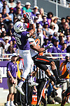 TCU Horned Frogs wide receiver Josh Doctson (9) and Oklahoma State Cowboys safety Jordan Sterns (13) in action during the game between the OSU Cowboys and the TCU Horned Frogs at the Amon G. Carter Stadium in Fort Worth, Texas. TCU defeated OSU 42 to 9.
