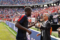 US Soccer President Sunil Gulati greets players as the come off the field at the end of warmups. The men's national team of Spain (ESP) defeated the United States (USA) 4-0 during a International friendly at Gillette Stadium in Foxborough, MA, on June 04, 2011.