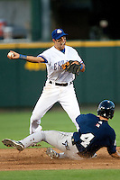Round Rock Express second baseman Matt Kata #15 turns a double play during the Pacific Coast League baseball game against the New Orleans Zephyrs on April 30, 2012 at The Dell Diamond in Round Rock, Texas. The Zephyrs defeated the Express 5-3. (Andrew Woolley / Four Seam Images).