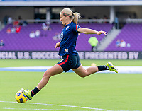ORLANDO, FL - FEBRUARY 21: Lindsey Horan #9 of the USWNT warms up before a game between Brazil and USWNT at Exploria Stadium on February 21, 2021 in Orlando, Florida.