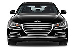 Car photography straight front view of a 2015 Hyundai Genesis 3.8 4 Door Sedan Front View