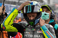 29th August 2021; Silverstone Circuit, Silverstone, Northamptonshire, England; MotoGP British Grand Prix, Race Day; Petronas Yamaha SRT rider Valentino Rossi puts on his helmet