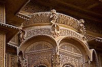 A hand carved SANDSTONE BAY WINDOW screen of the Mayors beautiful HAVELI or home in JAISALMER - RAJASTHAN, INDIA