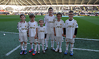 Tuesday 01 January 2013<br /> Pictured: Children mascots.<br /> Re: Barclays Premier League, Swansea City FC v Aston Villa at the Liberty Stadium, south Wales.