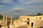The Roman theater of Scythopolis, a reconstructed section of the scaenae frons, the decorated background of the stage comprising a row of marble and granite columns