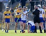 David Fitzgerald of Clare appeals to John Keenan, referee, during their National League game against Waterford at Cusack Park. Photograph by John Kelly.