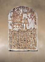 Ancient Egyptian Stele of Amenemope dedicated to Amenhotep I and Ahmose-Nefertari, limestone, New Kingdom, 19th Dynasty, (1279-1213 BC), Deir el-Medina, Drovetti cat 1452. Egyptian Museum, Turin.