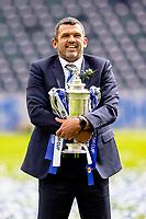 22nd May 2021; Hampden Park, Glasgow, Scotland; Scottish Cup Football Final, St Johnstone versus Hibernian Callum Davidson St Johnstone Manager lifts the Scottish cup  after winning the final by the score of 1-0