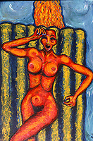 Girl in Pool. Acrylic on Board. 4' X  3'  Painted about 1989.