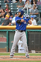 Bryan Petersen (7) of the Round Rock Express at bat against the Salt Lake Bees in Pacific Coast League action at Smith's Ballpark on August 21, 2014 in Salt Lake City, Utah.  (Stephen Smith/Four Seam Images)