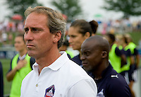 Washington Freedom head coach Jim Gabarra watches his team before the game at the Maryland SoccerPlex in Boyds, Maryland.  The Washington Freedom defeated Sky Blue FC, 3-1, to secure a place in the playoffs.