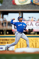 Toronto Blue Jays shortstop Richard Urena (78) throws to first base during a Spring Training game against the Pittsburgh Pirates on March 3, 2016 at McKechnie Field in Bradenton, Florida.  Toronto defeated Pittsburgh 10-8.  (Mike Janes/Four Seam Images)