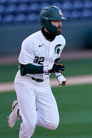 Third baseman Zach Iverson (32) of the Michigan State Spartans in a game against the Maryland Terrapins on Saturday, March 6, 2021, at Fluor Field at the West End in Greenville, South Carolina. (Tom Priddy/Four Seam Images)