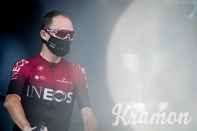 Chris Froome (GBR/Ineos) at the race start in Megève<br /> <br /> Stage 5: Megève to Megève (154km)<br /> 72st Critérium du Dauphiné 2020 (2.UWT)<br /> <br /> ©kramon