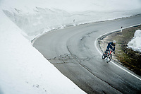 Amanuel Ghebreigzabhier (ERI/Trek - Segafredo) descending from the Passo Giau<br /> <br /> due to the bad weather conditions the stage was shortened (on the raceday) to 153km and the Passo Giau became this years Cima Coppi (highest point of the Giro).<br /> <br /> 104th Giro d'Italia 2021 (2.UWT)<br /> Stage 16 from Sacile to Cortina d'Ampezzo (shortened from 212km to 153km)<br /> <br /> ©kramon