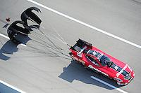 Apr. 28, 2012; Baytown, TX, USA: Aerial view of NHRA funny car driver Cruz Pedregon during qualifying for the Spring Nationals at Royal Purple Raceway. Mandatory Credit: Mark J. Rebilas-