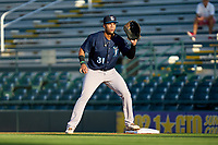 Tampa Tarpons first baseman Anthony Garcia (31) waits for a throw during Game Two of the Low-A Southeast Championship Series against the Bradenton Marauders on September 22, 2021 at LECOM Park in Bradenton, Florida.  (Mike Janes/Four Seam Images)