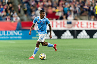 FOXBOROUGH, MA - SEPTEMBER 11: Thiago Andrade #8 of New York City FC looks to pass during a game between New York City FC and New England Revolution at Gillette Stadium on September 11, 2021 in Foxborough, Massachusetts.