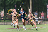 NEWTON, MA - MAY 22: Hollie Schleicher #28 of Boston College brings the ball forward during NCAA Division I Women's Lacrosse Tournament quarterfinal round game between Notre Dame and Boston College at Newton Campus Lacrosse Field on May 22, 2021 in Newton, Massachusetts.
