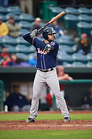 New Hampshire Fisher Cats first baseman Ryan McBroom (20) at bat during a game against the Altoona Curve on May 11, 2017 at Peoples Natural Gas Field in Altoona, Pennsylvania.  Altoona defeated New Hampshire 4-3.  (Mike Janes/Four Seam Images)