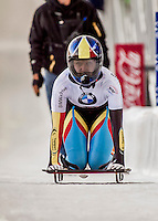 8 January 2016: Kim Meylemans, competing for Belgium, completes her second run of the BMW IBSF World Cup Skeleton race with a combined 2-run time of 1:51.69, earning an 11th place finish for the day at the Olympic Sports Track in Lake Placid, New York, USA. Mandatory Credit: Ed Wolfstein Photo *** RAW (NEF) Image File Available ***