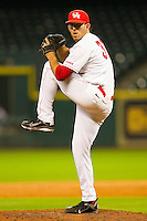 Relief pitcher Mo Wiley #33 of the Houston Cougars in action against the Tennessee Volunteers at Minute Maid Park on March 2, 2012 in Houston, Texas.  The Cougars defeated the Volunteers 7-4.  Brian Westerholt / Four Seam Images