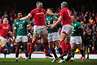 Pictured: Hadleigh Parkes of Wales celebrates scoring his sides first try during the Guinness six nations match between Wales and Ireland at the Principality Stadium, Cardiff, Wales, UK.<br /> Saturday 16 March 2019