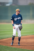Helena Brewers infielder Brice Turang (18) during a Pioneer League game against the Grand Junction Rockies at Kindrick Legion Field on August 19, 2018 in Helena, Montana. The Grand Junction Rockies defeated the Helena Brewers by a score of 6-1. (Zachary Lucy/Four Seam Images)