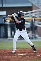 Ben Harris (32) (Brewton Parker) of the Bluefield Ridge Runners at bat against the Burlington Sock Puppets at Burlington Athletic Park on June 8, 2021 in Burlington, North Carolina. (Brian Westerholt/Four Seam Images)